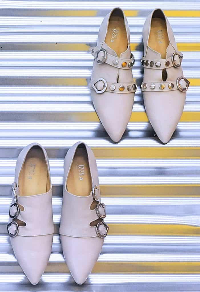Ballerine chiare a punta   1725.a - scarpe made in Italy