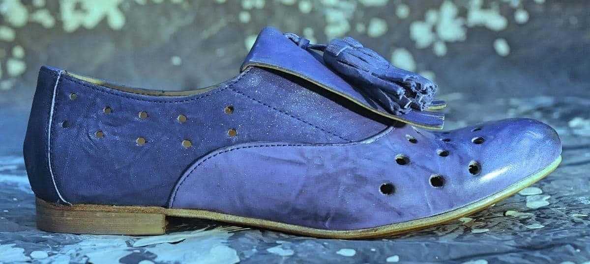 Parigina donna blu con frangia | 1725.a - scarpe made in Italy