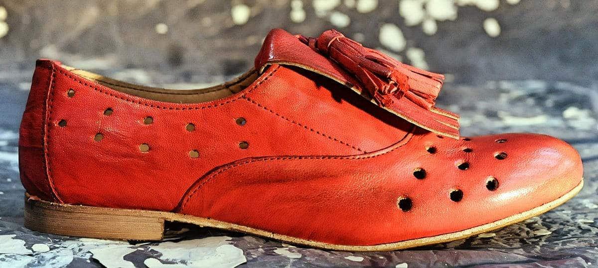 Parigina donna rossa con frangia | 1725.a - scarpe made in Italy