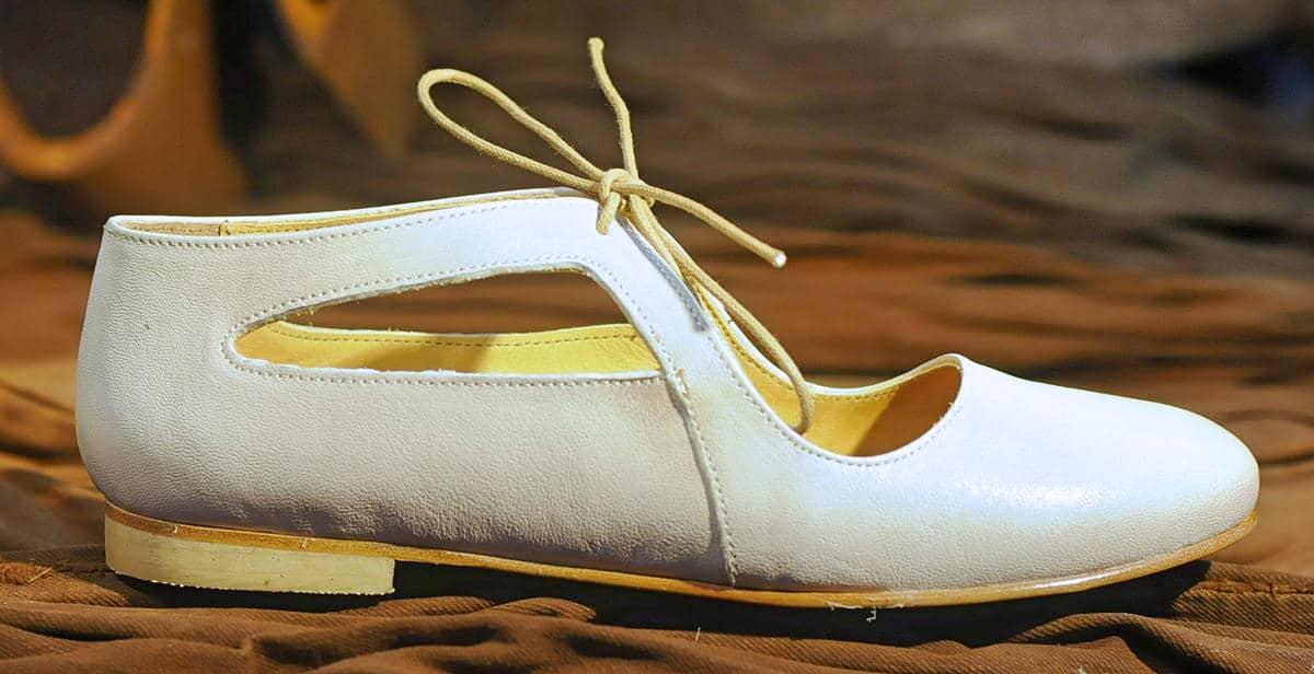 Ballerina tonda bianca in pelle | 1725.a - scarpe made in Italy