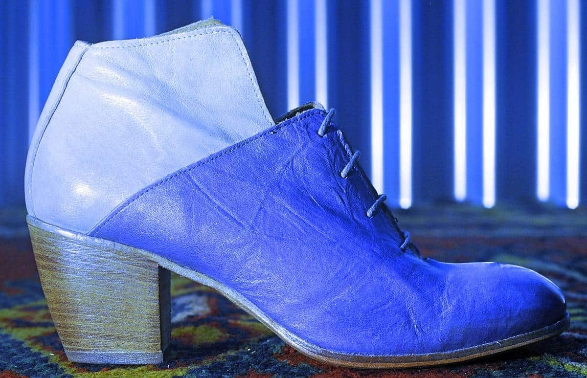 Stivaletto bianco e blu in pelle | 1725.a - scarpe made in Italy