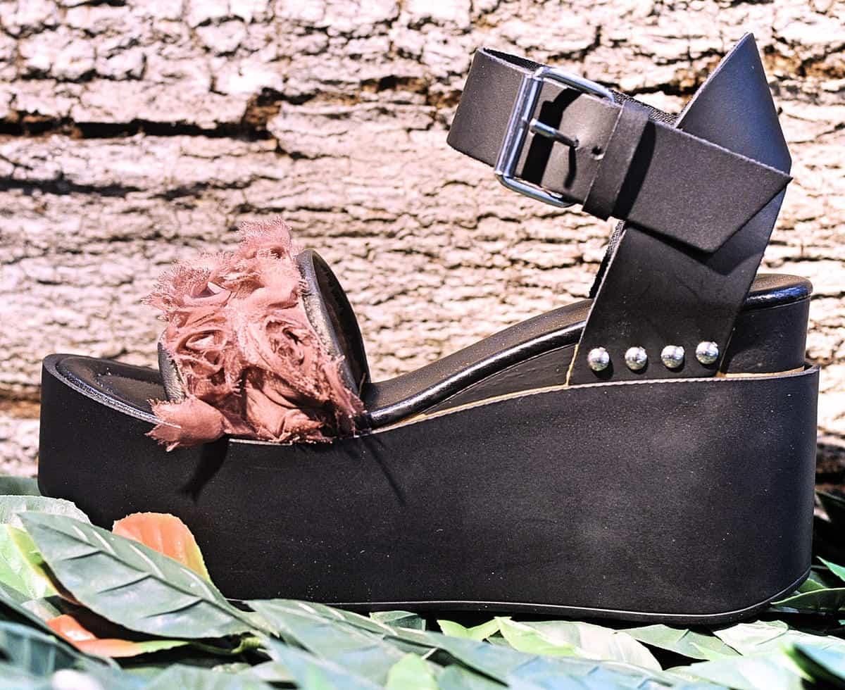 Sandalo nero e rosa | 1725.a - scarpe made in Italy