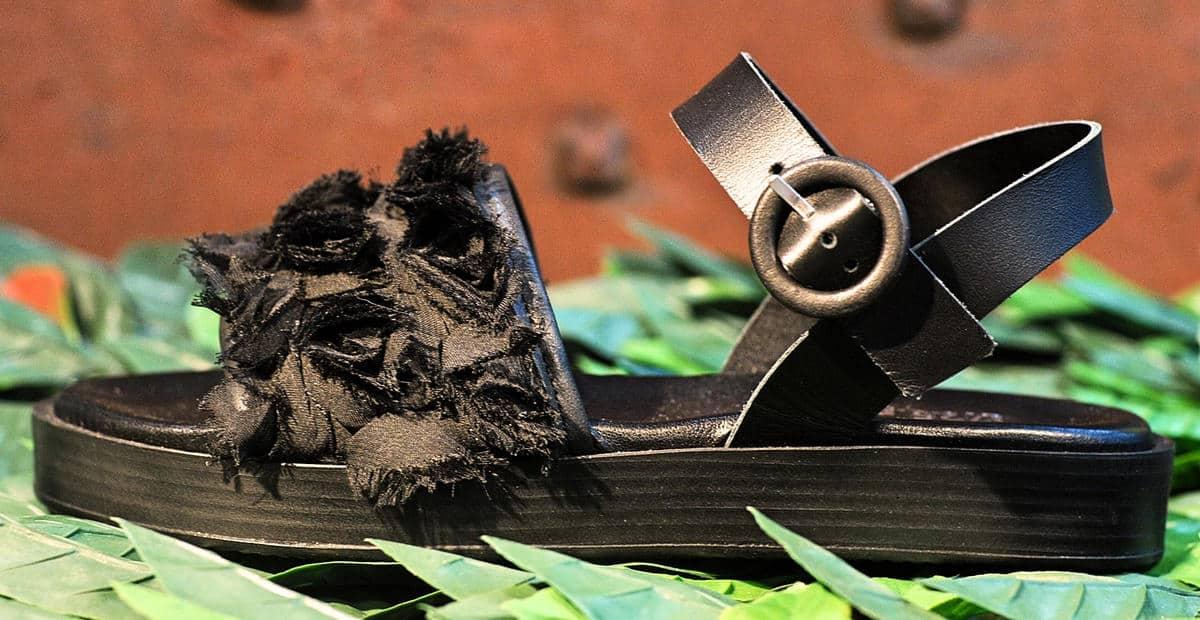 Sandalo nero | 1725.a - scarpe made in Italy