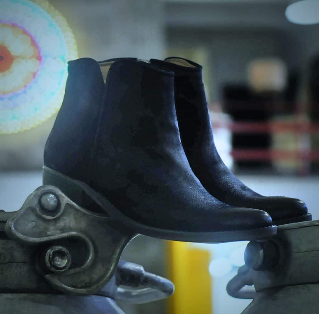 Texano donna pelle nera lavorata | 1725.a - scarpe made in Italy